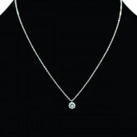 Collier pendentif Acier chirurgical Inox gros strass Charm Colac013-Argenté