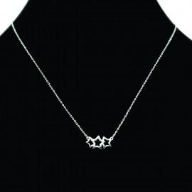 Collier pendentif Acier chirurgical Inox étoiles filantes Charm Colac015-Argenté