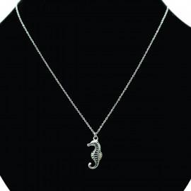 Collier pendentif Acier chirurgical Inox hippocampe Charm Colac016-Argenté