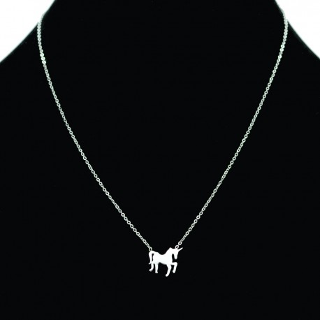Collier pendentif Acier chirurgical Inox licorne cheval Charm Colac018-Argenté