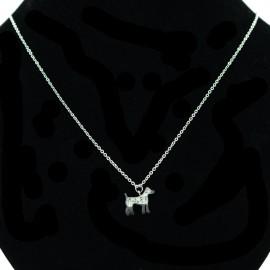 Collier pendentif Acier chirurgical Inox chien et strass Charm Colac019-Argenté