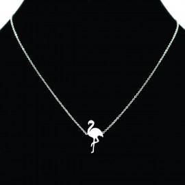 Collier pendentif Acier chirurgical Inox flamant rose Charm Colac023-Argenté