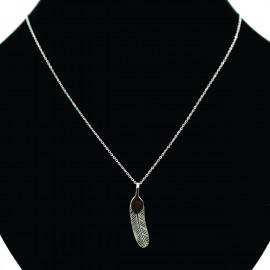 Collier pendentif Acier chirurgical Inox plume Charm Colac024-Argenté