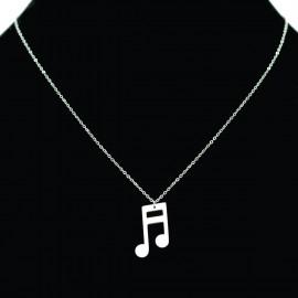 Collier pendentif Acier chirurgical Inox note musique Charm Colac029-Argenté