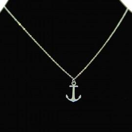 Collier pendentif Acier chirurgical Inox Ancre marine Charm Colac031-Argenté