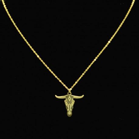 Collier pendentif Acier chirurgical Inox tête de taureau Charm Colac030-Doré