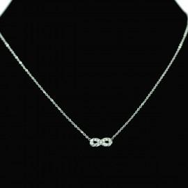 Collier pendentif Acier chirurgical Inox Infini 8 Huit Charm Colac030-Argenté