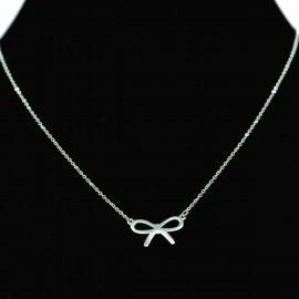 Collier pendentif Acier chirurgical Inox Noeud Charm Colac034-Argenté