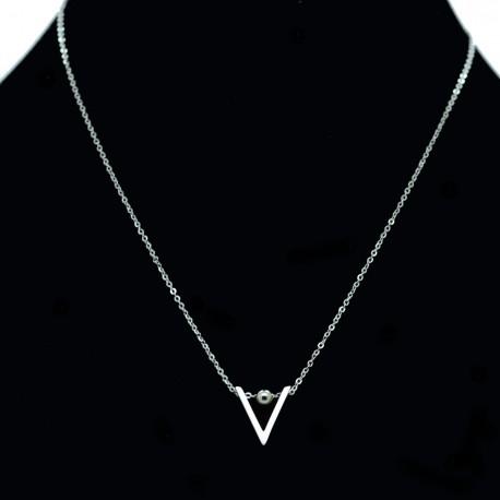 Collier pendentif Acier chirurgical Inox Triangle Charm Colac038-Argenté