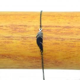 Bracelet Acier inoxydable 316L Plume ciselée chaine fine Charm Réglable BRA004-Noir
