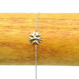 Bracelet Acier inoxydable 316L Flocon de neige ciselé chaine fine Charm BRA008-Argenté