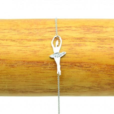 Bracelet Acier chirurgical 316L Danceuse Strass chaine fine Charm BRA013-Argenté