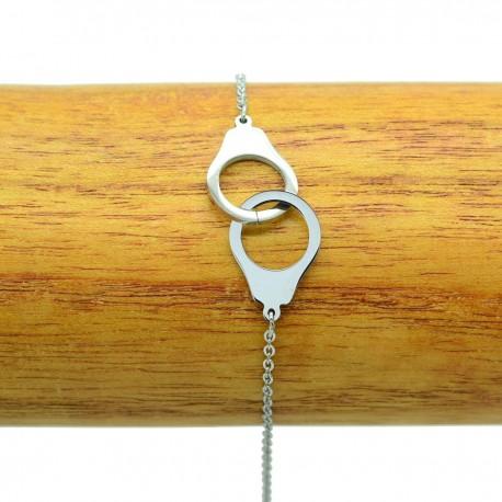 Bracelet Acier chirurgical 316L Menottes chaine fine Charm BRA014-Argenté