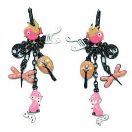 Boucles d'oreilles LOL Bijoux LOLILOTA L'oiseau et le renard BFLOL096-fushia