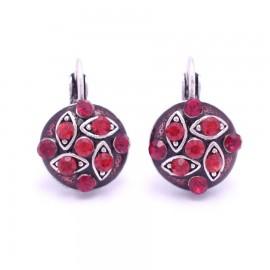 Boucles d'oreilles émaillées Dormeuse Strass petites et légères BFDSC005-rouge