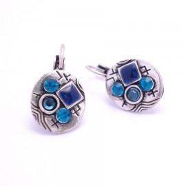 Boucles d'oreilles émaillées Dormeuse Strass petites et légères BFDSC006-bleu