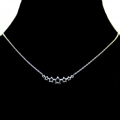 Collier pendentif Acier chirurgical Inox 7 étoiles Charm Colac040-argenté