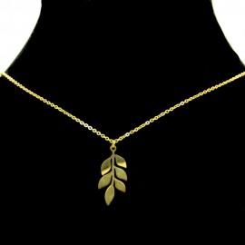 Collier pendentif Acier chirurgical Inox Feuille Charm Colac043-doré