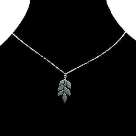 Collier pendentif Acier chirurgical Inox Feuille Charm Colac043-argenté