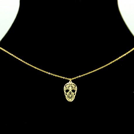 Collier pendentif Acier chirurgical Inox Tête de mort Charm Colac044-doré