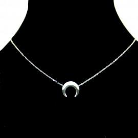 Collier pendentif Acier chirurgical Inox Lune Charm Colac045-argenté