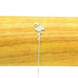 Bracelet Acier chirurgical 316L Flamant rose chaine fine Charm Réglable BRA017-argenté