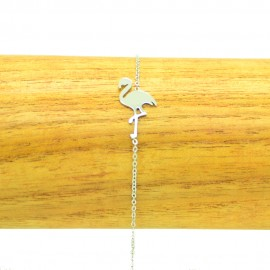 Bracelet Acier inoxydable 316L Flamant rose chaine fine Charm Réglable BRA017-argenté
