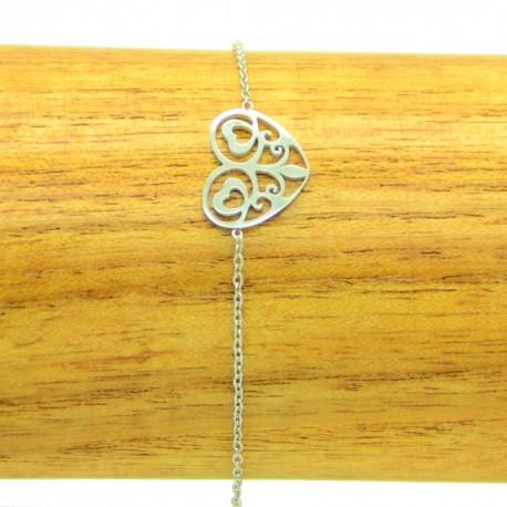 Bracelet Acier Inoxydable Coeur ciselé chaine fine Charm Réglable BRA019-Argenté