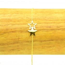 Bracelet Acier inoxydable 316L 2 étoiles ciselés chaine fine Charm Réglable BRA020-Doré