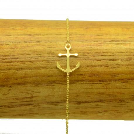 Bracelet Acier chirurgical 316L Ancre ciselé chaine fine Charm Réglable BRA006-doré