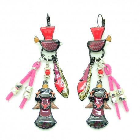 Boucles d'oreilles LOL Bijoux LOLILOTA l'ange et l'oiseau BFLOL090-Rose
