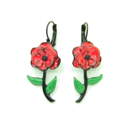 Boucles d'oreilles LOL Bijoux LOLILOTA La fleur BFLOL097-Rouge
