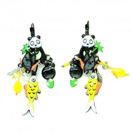 Boucles d'oreilles LOL Bijoux LOLILOTA Panda et la Colombe BFLOL098-Jaune