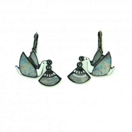 Boucles d'oreilles LOL Bijoux LOLILOTA Colombe et éventail BFLOL099-Blanc