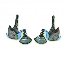 Boucles d'oreilles LOL Bijoux LOLILOTA Colombe et éventail BFLOL099-Bleu