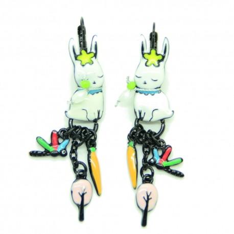 Boucles d'oreilles LOL Bijoux LOLILOTA Lapin et la carotte BFLOL0101-Blanc