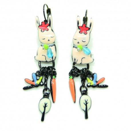Boucles d'oreilles LOL Bijoux LOLILOTA Lapin et la carotte BFLOL101-Rose