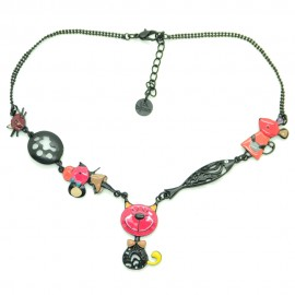 Collier LOL Bijoux LOLILOTA Le chat gentleman COLOL047-rose