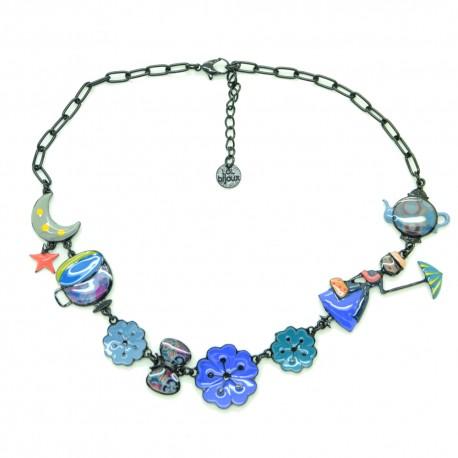 Collier LOL Bijoux LOLILOTA La fille et les fleurs COLOL052-bleu