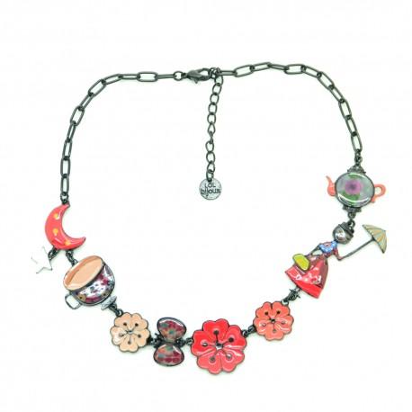 Collier LOL Bijoux LOLILOTA La fille et les fleurs COLOL052-rouge