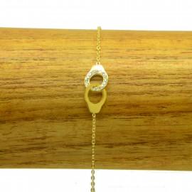 Bracelet Acier Inoxydable Menottes Strass chaine fine Charm BRA010-Doré