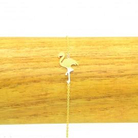 Bracelet Acier chirurgical 316L Flamant rose chaine fine Charm Réglable BRA007-doré