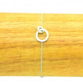 Bracelet Acier Inoxydable Cercles enlacés chaine fine Charm BRA016-Argenté