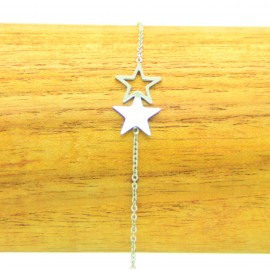 Bracelet Acier inoxydable 316L 2 étoiles ciselés chaine fine Charm Réglable BRA020-Argenté