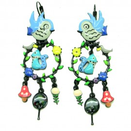 Boucles d'oreilles LOL Bijoux LOLILOTA L'oiseau et le renard BFLOL103-Bleu