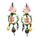 Boucles d'oreilles LOL Bijoux LOLILOTA L'oiseau et le renard BFLOL103-fushia