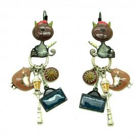 Boucles d'oreilles LOL Bijoux LOLILOTA Avenue des chats BFLOL105-marron
