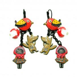 Boucles d'oreilles LOL Bijoux LOLILOTA L'oiseau le loup et le petit chaperon rouge BFLOL104