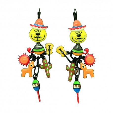 Boucles d'oreilles LOL Bijoux LOLILOTA Le chat mexicain et le lama BFLOL110-jaune