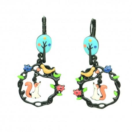 Boucles d'oreilles LOL Bijoux LOLILOTA Le corbeau et le renard BFLOL113-bleu